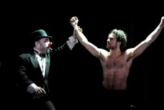 Alex Waldmann as Orlando and Nicolas Tennant as Touchstone in As You Like It. Photo by Keith Pattison